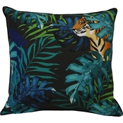 Outdoor Decor Jungle Tiger 24 x 24 in. Printed Cushion with Piping and Zipper