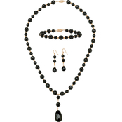 PalmBeach 10K Yellow Gold Onyx Bead Necklace, Earrings and Bracelet Set