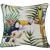 Outdoor Decor Tropical Birds 18 x 18 in. Printed Cushion