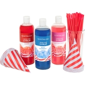 Nostalgia Electrics Premium 16 oz. Snow Cone Syrups, Cups & Spoon-Straws Party Kit