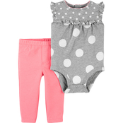Carter's Infant Girls Polka Dot Bodysuit and Pants 2 pc. Set