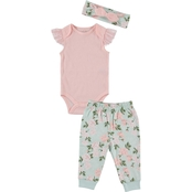 Cutie Pie Baby Infant Girls Kyle & Deena 3 pc. Floral Joggers Set