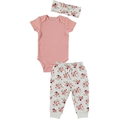 Cutie Pie Baby Infant Girls Kyle & Deena Bodysuit, Joggers and Headband 3 pc. Set
