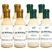 Yo Mama's Low Carb Classic Caesar Dressing and Dip 8 Bottles, 13 oz. each