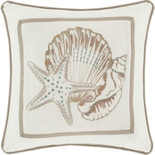 Royal Court Water's Edge Ivory 16 in. Square Decorative Throw Pillow
