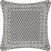 Five Queens Court Houston Charcoal Square Decorative Throw Pillow