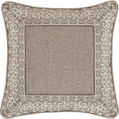 J. Queen New York Milan Taupe 18 in. Square Embellished Decorative Throw Pillow