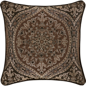 J. Queen New York Mahogany Chocolate 20 in. Square Decorative Throw Pillow