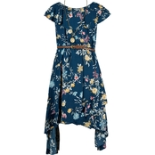Beautees Girls Hi Lo Floral Dress with Belt