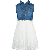 Beautees Girls Denim Bodice with Belt & Skirt Dress