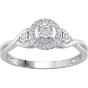 Love Honor Cherish Sterling Silver 1/7 CTW Diamond Round Halo Fashion Promise Ring