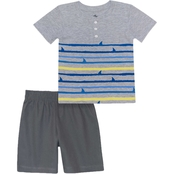 Little Rebels' Toddler Boys Stripe Shark Fin Tee and Shorts 2 pc. Set