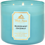 Bath & Body Works White Barn Color 3 Wick Candle Mahogany Coconut