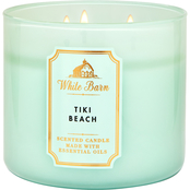 Bath & Body Works White Barn Color 3 Wick Candle Tiki Beach