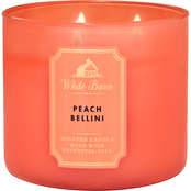 Bath & Body Works White Barn Color 3 Wick Candle Peach Bellini