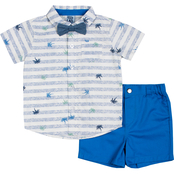 Little Lad Infant Boys Palm Stripe Creeper, Bow Tie and Shorts 3 pc. Set
