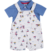 Little Lad Infant Boys Heather Sailboat Shortalls and Polo 2 pc. Set
