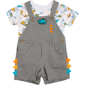 Little Lad Infant Boys Dino Spike Shortalls and Tee 2 pc. Set
