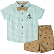 Little Lad Infant Boys Gingham Anchor Creeper, Bowtie and Shorts 3 pc. Set