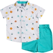 Little Lad Infant Boys Poplin Jungle Creeper and Shorts 2 pc. Set