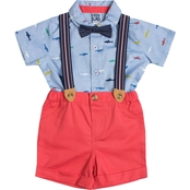 Little Lad Infant Boys Oxford Shark Suspenders, Shirt, Bowtie & Shorts 4 pc. Set