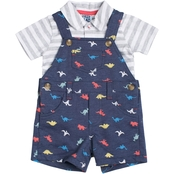 Little Lad Infant Boys Heather Dinosaur Shortalls and Polo 2 pc. Set