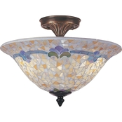 Dale Tiffany Johana Mosaic 10.5 x 13.25 in. Semi Flush Mount Ceiling Lamp
