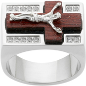Stainless Steel Cubic Zirconia Wood Crucifix Ring