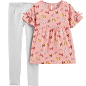 Carter's Little Girls Dog Flutter Tee & Leggings 2 pc. Set
