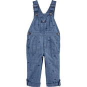 OshKosh B'gosh Toddler Boys Dinosaur Chambray Convertible Overalls