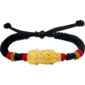 Robert Manse Designs 24K Gold Pixiu Adjustable Black Cord Bracelet