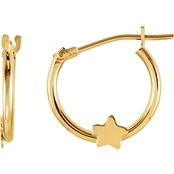 Karat Kids 14K Yellow Gold 12mm Hoop/Star Earrings