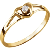 Karat Kids 14K Yellow Gold Cubic Zirconia Heart Ring