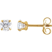 Karat Kids 14K Yellow Gold 4mm Cubic Zirconia Earrings
