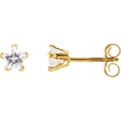 Karat Kids 14K Yellow Gold 4mm Star Cubic Zirconia Earrings
