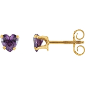 Karat Kids 14K Yellow 4mm Amethyst Heart Earrings