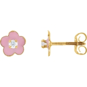 Karat Kids 14K Yellow Gold Pink Enamel Flower with Cubic Zirconia Earrings
