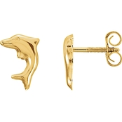 Karat Kids 14K Yellow Gold Dolphin Earrings