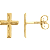 Karat Kids 14K Yellow Gold Diamond Cut Cross Earrings