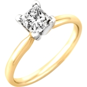 14K Gold 1/3 Ct. Princess Cut Diamond Solitaire Ring
