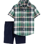 Carter's Toddler Boys Plaid Button Front Shirt and Shorts 2 pc. Set