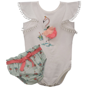 Bonnie Jean Infant Girls Flamingo Bodysuit and Diaper Cover 2 pc. Set