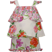 Bonnie Jean Infant Girls Mixed Print Ruffle Top and Shorts 2 pc. Set