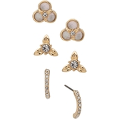 Anne Klein Goldtone White Mother of Pearl Flower Trio Earrings Set
