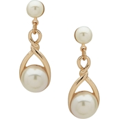Anne Klein Goldtone Pearl Twisted  Linear Earrings