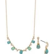 Anne Klein Goldtone Turquoise Frontal Necklace Earrings Set