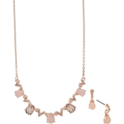 Anne Klein Rose Goldtone Blush Frontal Necklace and Earring Set