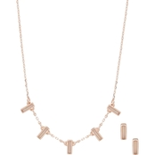 Anne Klein Rose Goldtone Mother of Pearl Necklace and Earrings Set