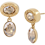 COACH Signature Logo Swarovski Crystals Double Drop Earrings