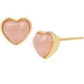 COACH Carved Rose Quartz Heart Stud Earrings